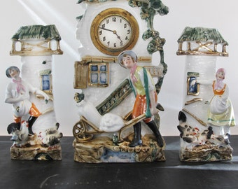 "Garniture German Porcelain Clock Miller Farmer Chickens Mill 1920s German ""Art Deco Staffordshire"""