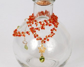 Carnelian Fringe Chain with Gold Lotus Flower and Peridot Necklace
