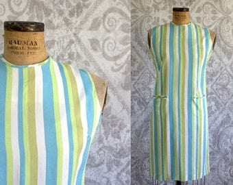 Vintage 1960s Dress 60s Shift Style Striped Day Dress Casual Summer Dress Womens Size Large