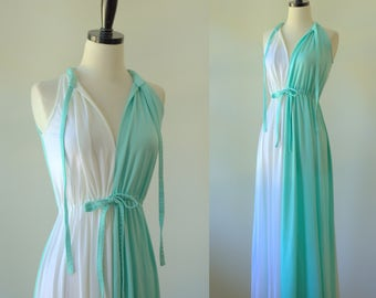 1970s Maxi Dress Toga Dress 1970s Clothing Dress for Toga Party 70s Gown Grecian Goddess Length Long Green Dress Sea Foam and White Sm Med
