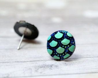 Blue Green Polka Dot Earrings, Black and Green Party Jewelry, Stainless Steel Posts, New Years Eve Holiday Jewelry