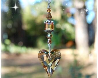 Gold Topaz Wild Heart Swarovski Crystal Suncatcher, Rearview Mirror Car Charm, Light Pull, Fan Pull Chain Ornament, Home Decor Window Prism