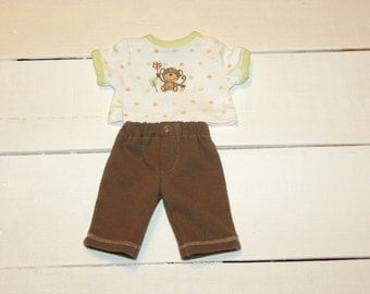 Cocoa Colour  Pants and Little Monkey Tshirt - 12 inch boy doll clothes
