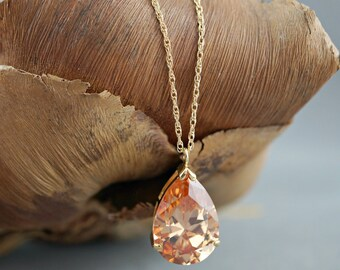 Bridal Necklace Wedding Jewelry Topaz Teardrop cubic zirconia round cz Pear Drop Sparkly Short Gold Bridesmaid gift Shower Mother of Bride