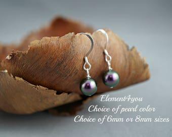 Pearl earrings, Simple pearl drop, Swarovski 8mm pearl, Sterling silver, Choice of colors, Bridesmaid gift, Wedding shower gift, Flower girl