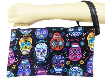 "USA Handmade Clutch Purse, Pouch Wristlet Makeup Bag With ""DE COLORES Sugar Skulls"" Pattern Cosmetic bag, New, rare"