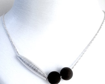 Silver and black lava pendant, silver and lava necklace