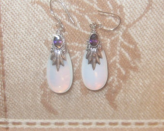 925 Sterling Silver Sea Opal Opalite Glass Amethyst Teardrop Earrings