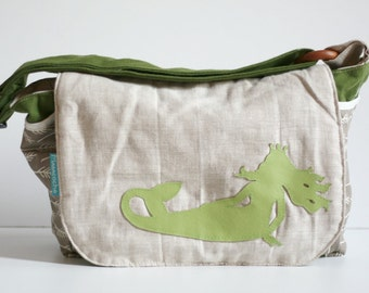 eco-friendly diaper bag,messenger bag, nappy bag, reclaimed fabrics,leather mermaid design, linen, printed leaf design, green