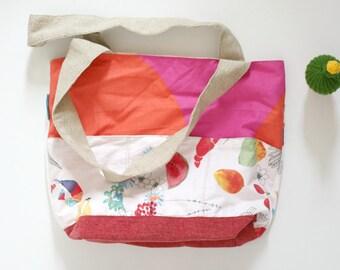 large tote bag, beach bag, diaper bag, picnic bag, beige, white,orange,pink,food fun print, eco-friendly,reclaimed fabrics,carry all bag