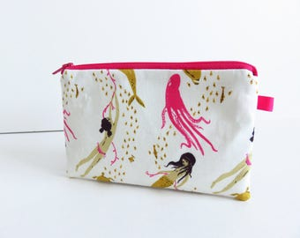 Heather Ross ~ Mendocino ~ Underwater Sisters Palm Zippered Purse