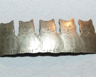 Vintage / Kitties / Cats / Hair Clip / Silver / Barrette / Animal / old jewelry / jewellery