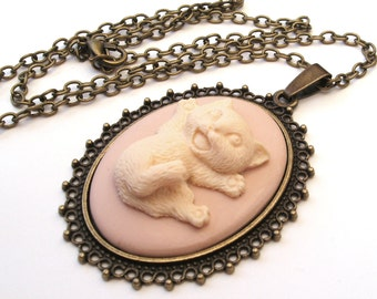 Happy Cat Necklace, Kitten Necklace, Cat Cameo Necklace, Choose Silver or Bronze