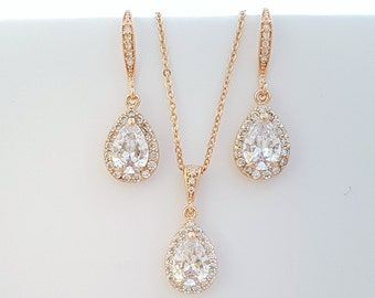 ROSE GOLD Bridal Jewelry Set Wedding Earrings and Necklace Set Wedding Jewelry Set Crystal Bridesmaid Jewelry Pink Gold Jewelry Set, Ellie