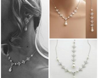Backdrop Wedding Necklace Crystal Backdrop Necklace Pearl Cubic Zirconia Bridal Necklace, Rosa