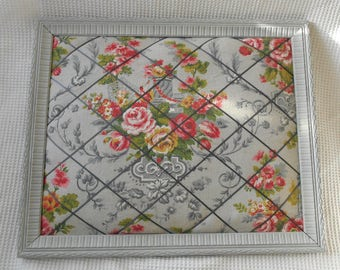 Note Notice Board Home Storage Cottage Chic Framed Floral Grey