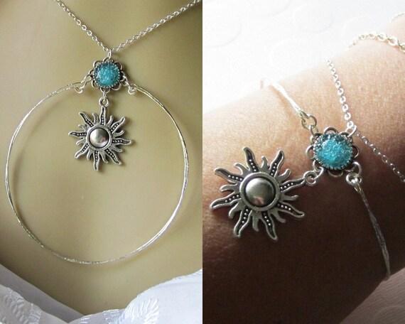 Sun Bracelet Chain Wrap Bracelet Sun Bangle Necklace Celtic Sun Bangle Aztec Sun God 2 for 1 Jewelry Custom Sun Bracelet Yellow Sun Bangle