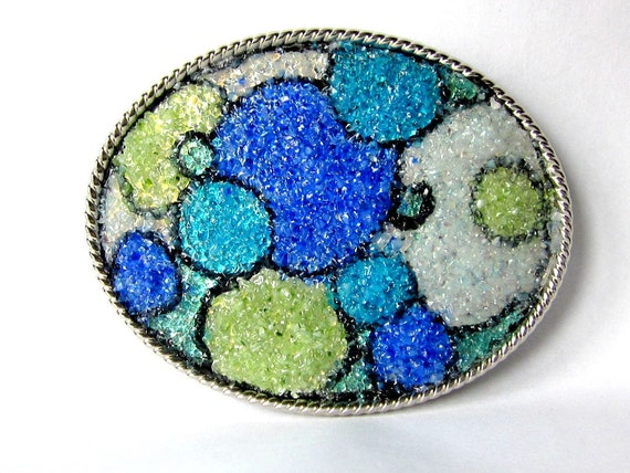 Circle Belt Buckle, Bubble Buckle, Blob Buckle, Stained Glass Mosaic Buckle, Blue Green White, Silver Oval, Rope Trim, Sapphire Peridot