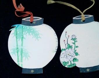 Vintage Bridge Tally Card, Art Deco Japanese Lanterns