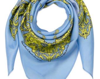 Cornflower Blue and Yellow Silk Bandanna