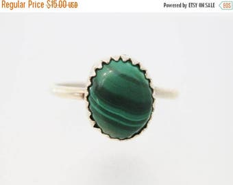 ON SALE Vintage Sterling Silver Malachite Ring