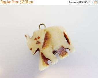 ON SALE Cute Vintage Carved Bone Elephant Pendant Charm