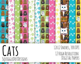 Digital Paper for Cards, Crafts, and Scrapbooking Printable Set of 12 - Cat - Instant Download