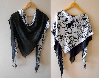 Black and white scarf Long Fabric scarf Women's Scarf Wearable Art Scarf  Shawl Wrap