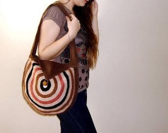 Crochet Bag, Round Bag, Large Purse, handmade Crochet shoulder bag, Hand Crochet Circle Purse hobo bag