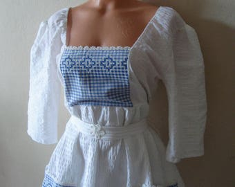 White summer dress, blue and white gingham dress, vintage cross stich embroidery day dress
