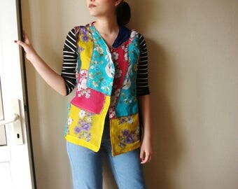 Patchwork Vest, reversible vest with no buttons collage clothing Hippie Shirt