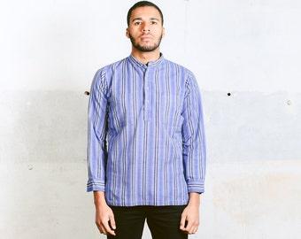 Vintage Men's Collarless Shirt . 70s Band Collar Blue Light  Long Sleeve Peasant Hippie Grandad Style Shirt Boyfriend Gift . size Medium