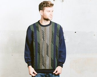 Vintage COOGI Style Sweater .  Men's 90s Grunge Striped Blue Green Cosby Fresh Prince Patterned Sweater Knit Knitwear . size Large