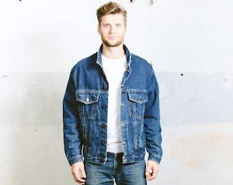 Vintage 80s Jeans Jacket . Mens 90s Dark WASH Denim Trucker Jacket Distressed Worn In Faded Stonewashed Blue Crop Jacket . size Large