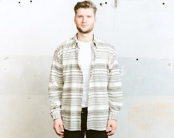Aztec Southwestern Shirt . Vintage Flannel Shirt CORDUROY 90s Grunge Striped Shirt White Boyfriend Shirt Jacket Tom Taylor . size XL
