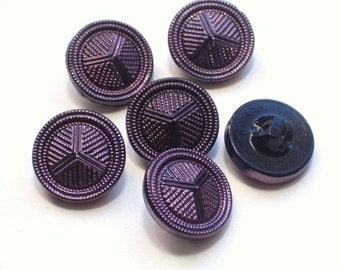 Purple Lustred Black Glass Vintage Buttons 21mm Set of 6 Beautiful Buttons