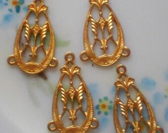 Vintage Filigree Connectors Victorian Art Nouveau ORNATE antique Gold NOS (N1473K)