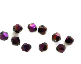 Ultra violet beads, Aurora Borealis Glass Beads Faceted bicone AB loose Spacer Purple 4mm Shabby Chic Cottage Mini Petite. #1597D