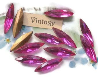 Vintage Navettes Pink 5x18mm Bright Faceted Gold Foil NOS Rhinestones. #912F