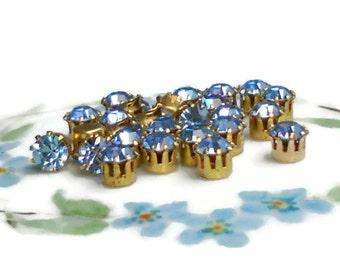 Vintage Swarovski Rhinestones Sapphire Prong Pronged Setting Lot Beautiful 6mm Gold Plated High Set Princess. #269