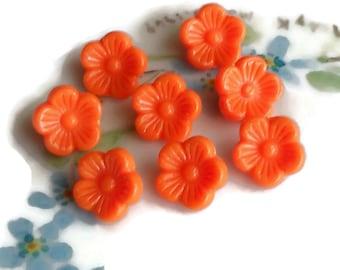 "Vintage Lucite Buttons, Flower Rose Button, Pressed buttons, NOS buttons,3/8"" buttons,10mm buttons, Japan buttons,Orange Peach #1614"
