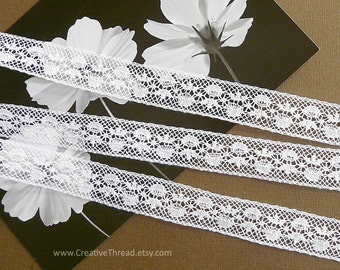 """4 1/2 Yards, Spanish Cotton Lace, Vintage Heirloom Lace, Cotton Insertion, Doll - Costume Trim, Lingerie Lace, 5/8"""" Wide, Soft White - BR303"""