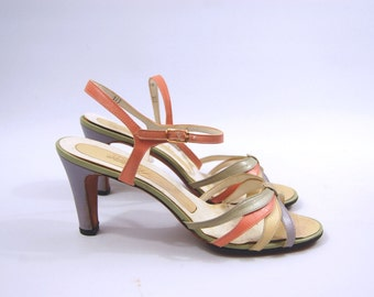 1950s Pastel Sandals - Pastel Strappy Pumps - 50s Pink and Purple Heels // Purple Pink Yellow Green // Size 8