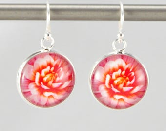 Dahlia - Earrings -  Sterling Silver Ear Wires - Photography - Handmade - Unique Gift - Matching Bracelet Available -  Wearable Art!
