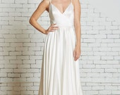 "Silk Charmeuse Wedding Gown with a Strappy Low Back, Flowing Skirt the ""Corey"" CUT TO ORDER"