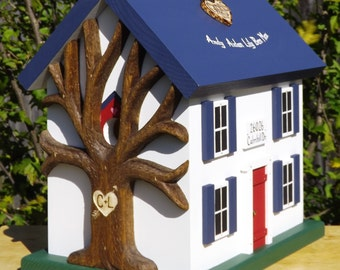 Small Wedding Card Box Birdhouse, With Heart Carved Tree