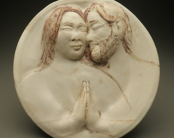 Ceramic Art Plate, The Lovers, Relief Figure Sculpture Wall Piece Couple Faces Touch Connection