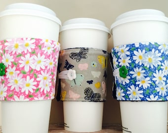 Coffee Cup Cozy, Coffee Cup Sleeve, Cup Cozy, Cup Sleeve, Reusable Coffee Sleeve - Butterfly Daisy [37-39]