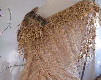 Troll maiden mushroom dyed silk tunic, fractal wings festival elven clothing