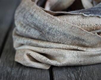 Chunky wool scarf felted scarf merino wool scarf women cowl hooded scarf silk scarf wool hood golden silk beige wool grey wool winter scarf